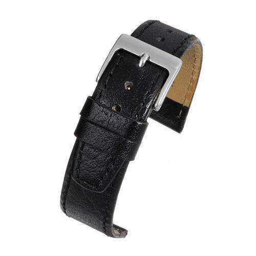 CLEARANCE Buffalo Grain Watch Strap Black with Chrome Buckle Size 8mm to 20mm