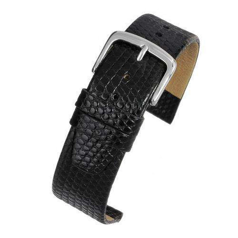 Calf Leather Watch Strap Black Lizard Grain High Grade Size 8mm to 20mm