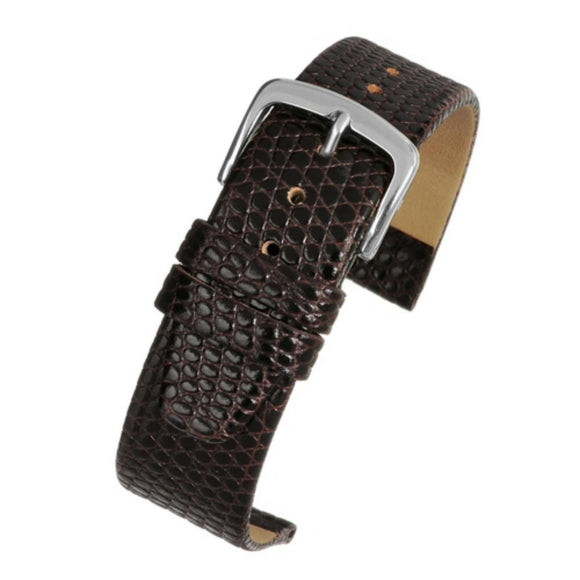 Calf Leather Watch Strap Brown Lizard Grain