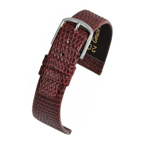 Lizard Grain Watch Strap Burgundy Silver Buckle Size 8mm to 22mm
