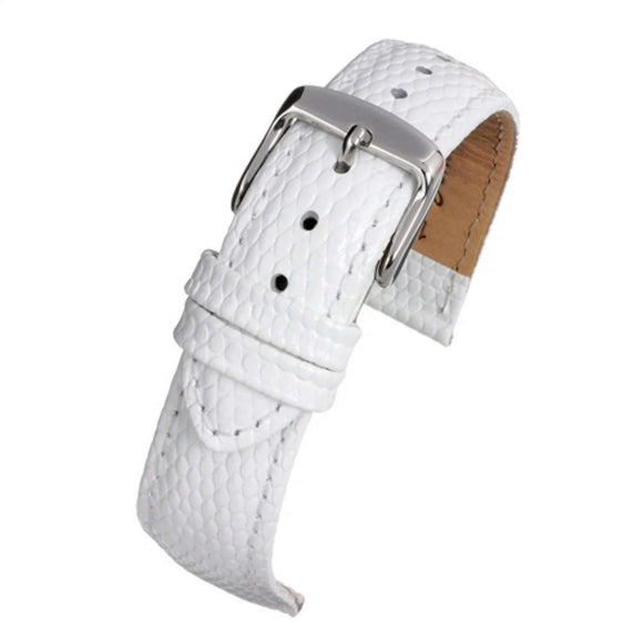 Calf Leather Watch Strap White Lizard Grain