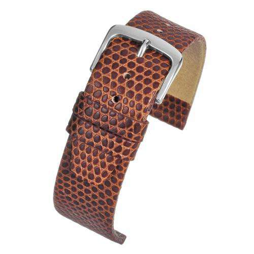 Lizard Grain Calf Leather Watch Strap Light Brown Chrome Buckle Size 12mm to 22mm