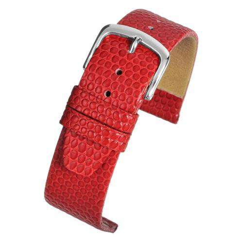 Lizard Grain Calf Leather Watch Strap Red Chrome Buckle Size 12mm to 22mm