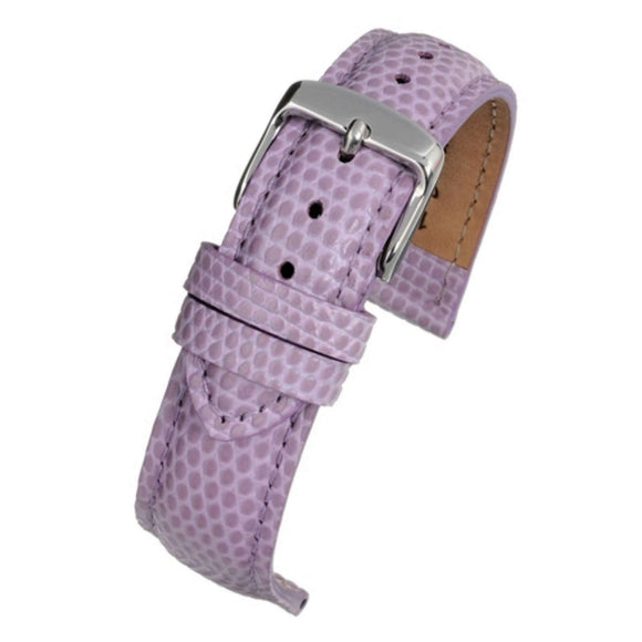 Calf Leather Watch Strap Purple Lizard Grain