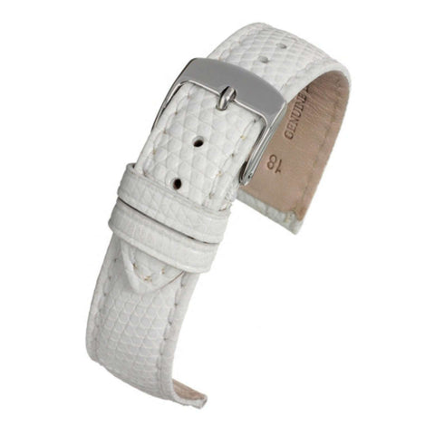 Authentic Lizard Watch Strap White