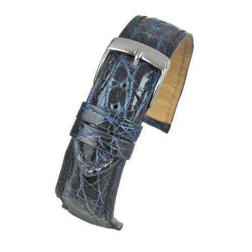 Genuine Italian Crocodile Watch Strap Marine Blue Size 18mm and 20mm