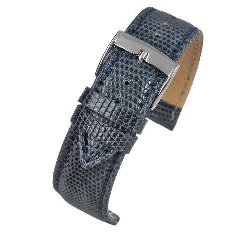 Genuine Italian Lizard Watch Strap Dark Blue Size 14mm to 20mm