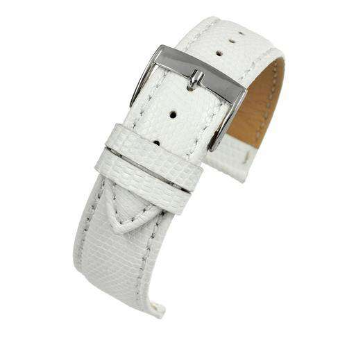 Genuine Italian Lizard Watch Strap White Size 14mm to 20mm