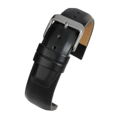 Calf Leather Watch Strap Black Square Padded