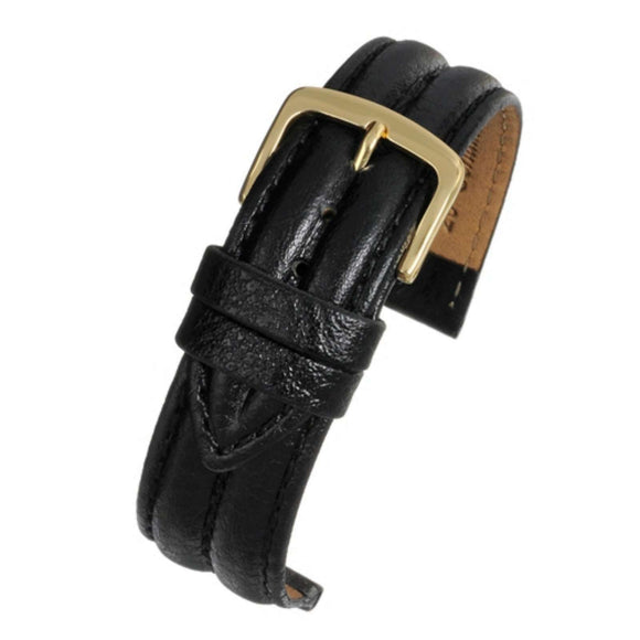 Black Double Ridged Padded Vegetable Leather Watch Strap