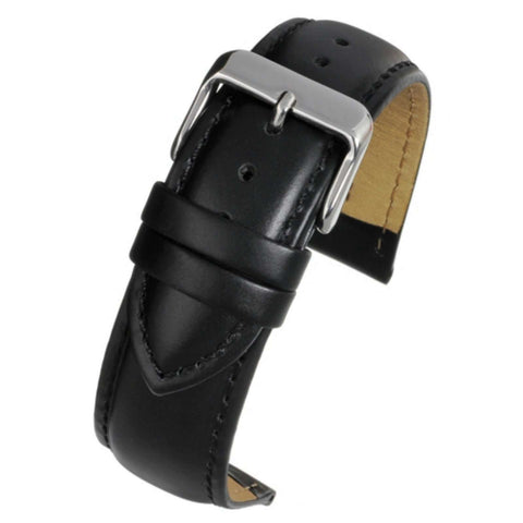 Calf Leather Watch Strap Black Padded