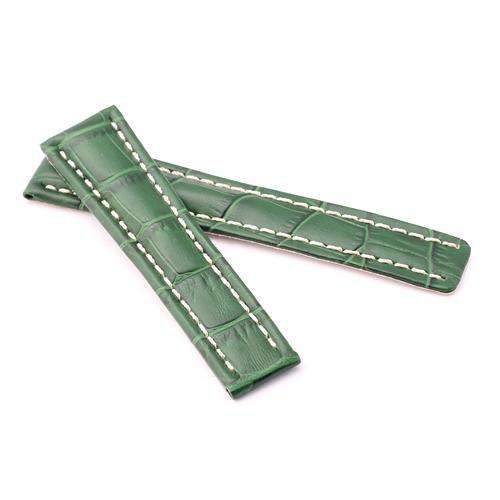 Crocodile Grain Calf Leather Watch Strap Green for Breitling 20mm to 24mm