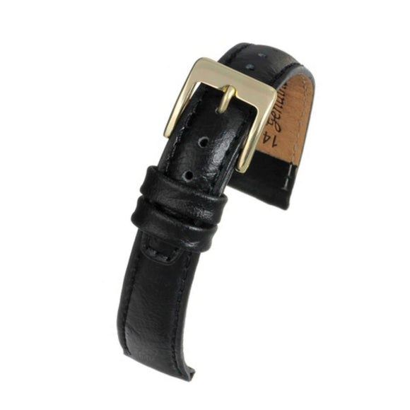Ostrich Grain Watch Strap Black Calf Leather