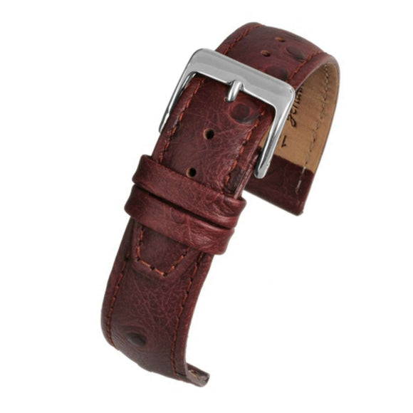 Ostrich Grain Watch Strap Brown Calf Leather
