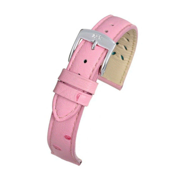 Ostrich Grain Watch Strap Pink High Grde Calf Leather