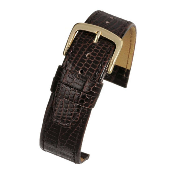 Calf Leather Watch Strap Brown Lizard Grain High Grade