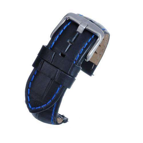 Black Croco Calf Watch Strap with Blue Stitching  complete with quick release spring bars
