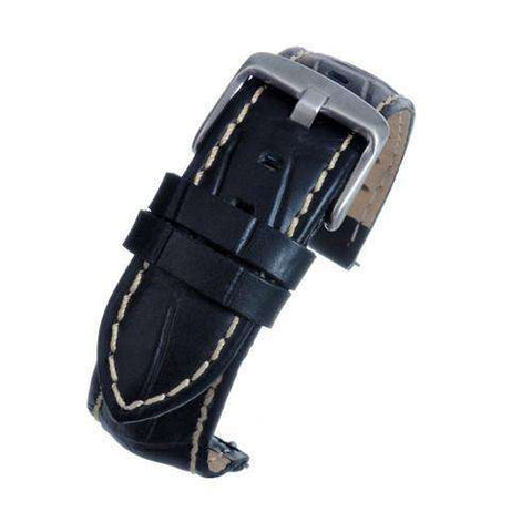 Black Croco Calf Watch Strap with White Stitching  complete with quick release spring bars