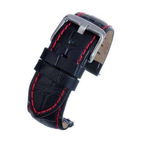 Black Croco Calf Watch Strap with Red Stitching complete with quick release spring bars