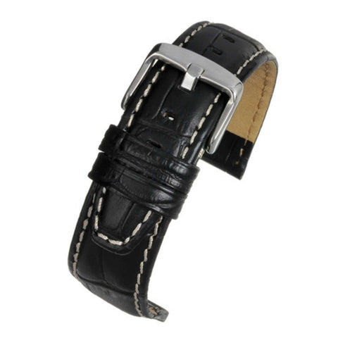 Crocodile Grain Watch Strap Black Super Croc Grain with Nubuck Lining