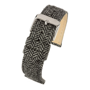 Fabric Watch Strap Black Tweed Stainless Steel Buckle Size 18mm to 22mm