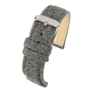 Fabric Watch Strap Grey Tweed Stainless Steel Buckle Size 18mm to 22mm
