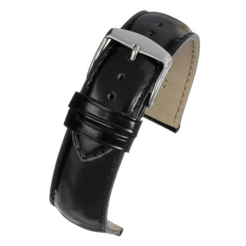 Calf Leather Watch Strap Black Gloss Superior Grade