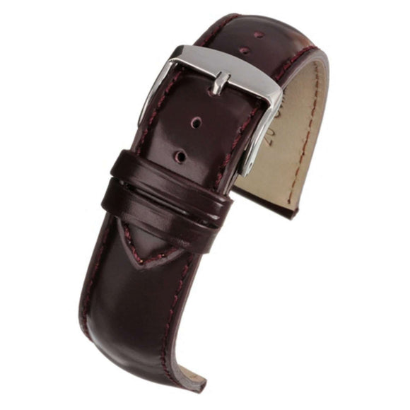 Calf Leather Watch Strap Burgundy Gloss Superior Grade