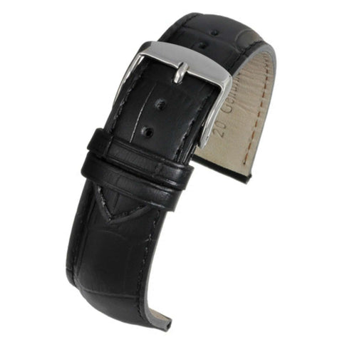 Crocodile Grain Watch Strap Black Superior Grain Matt