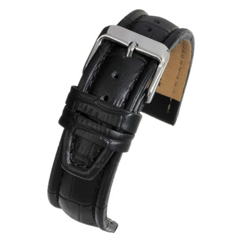 Crocodile Grain Watch Strap Black Matt Padded