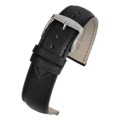 Calf Leather Watch Strap Black Superior Supple