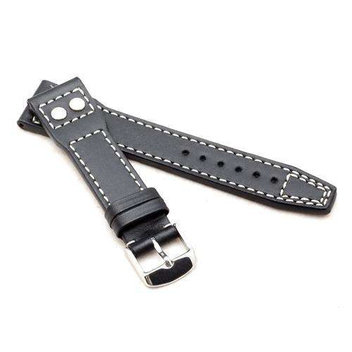 Calf Leather Watch Strap Black for IWC Marino 20mm and 22mm