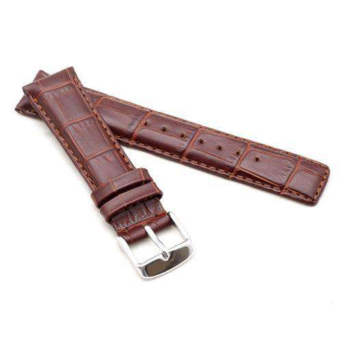 Crocodile Grain Calf Leather Watch Strap Dark Brown for IWC Classic 20mm, 21mm, 22mm