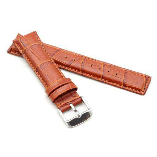 Crocodile Grain Calf Leather Watch Strap Tan for IWC Classic 20mm, 21mm, 22mm