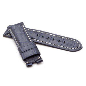 CLEARANCE Calf Leather Watch Strap Dark Blue Crocodile Grain Premium Strap for Panerai® 22mm to 24mm