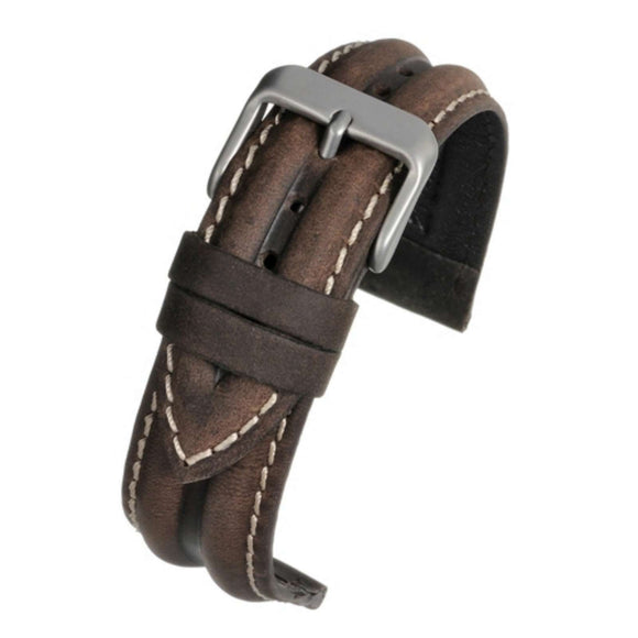 Calf Leather Watch Strap Brown Water Resistant