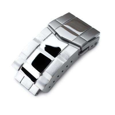 18mm Solid 316L Stainless Steel Double Locks Submariner Diver Clasp, Button Control, Polished & Brushed