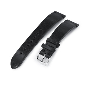 Strapcode Calf Leather Watch Strap German made 20mm Semi-Gloss Vintage Black Geniune Calf Watch Band, Polished