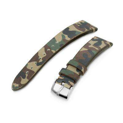 20mm MiLTAT Italian Handmade Camo Pattern Watch Strap, 16mm end, Khaki Stitching