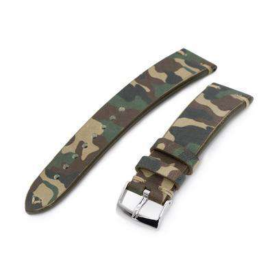 20mm MiLTAT Italian Handmade Camo Pattern Watch Strap, 18mm end, Khaki Stitching