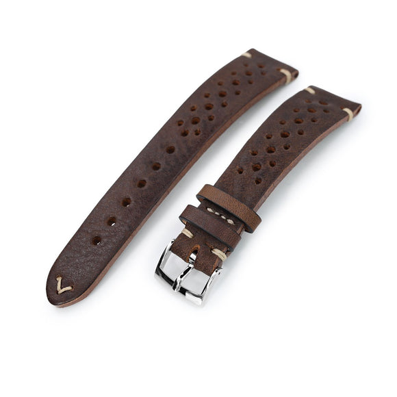 Strapcode Calf Leather Watch Strap German made 20mm Rally Racing Brown Shrunken Cowhide Watch Band, Polished