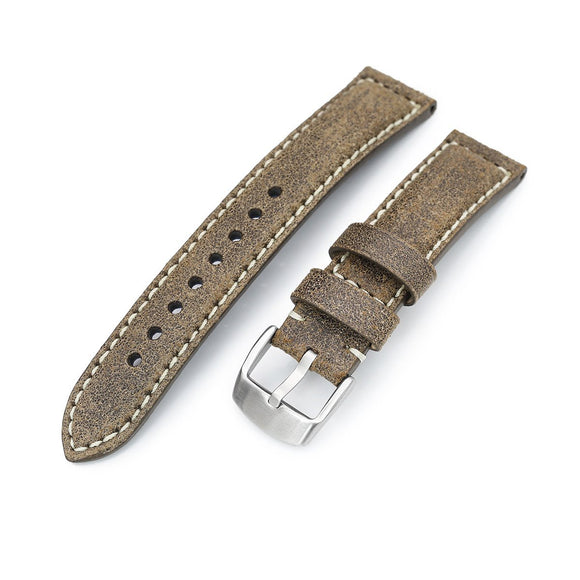 Strapcode Calf Leather Watch Strap MiLTAT 20mm Genuine Olive Brown Distressed Leather Watch Strap Extra Soft, Beige Stitching