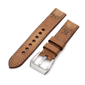 Strapcode Calf Leather Watch Strap 20mm Gunny X MT '74' Light Brown Handmade Quick Release Leather Watch Strap #41