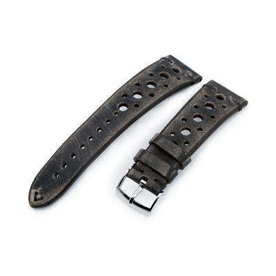 20mm or 22mm MiLTAT Italian Handmade Racer Vintage Charcoal Grey Watch Strap, Same Stitching