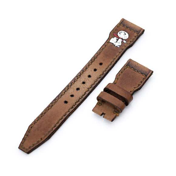 Strapcode Calf Leather Watch Strap 22mm Gunny X MT Light Brown Handmade for IWC Big Pilot Quick Release Leather Watch Strap - Minimalist Snoopy