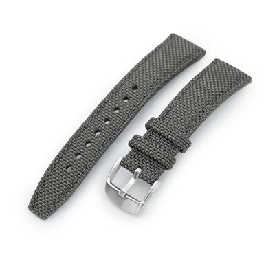 20mm, 21mm or 22mm Strong Texture Woven Nylon Military Grey Watch Strap, Brushed
