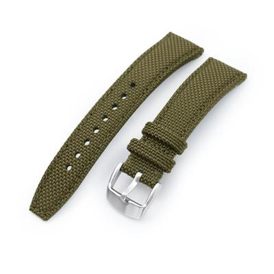 20mm, 21mm or 22mm Strong Texture Woven Nylon Military Green Watch Strap, Brushed