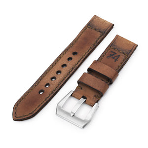 Strapcode Calf Leather Watch Strap 22mm Gunny X MT '74' Brown Handmade Quick Release Leather Watch Strap #67