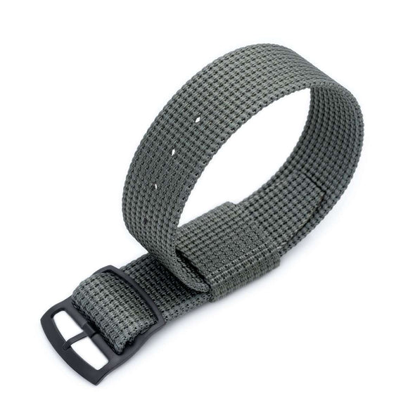 20mm or 22mm MiLTAT RAF N7 3-D Woven Nylon Nato Watch Strap, Military Grey, PVD Black Ladder Lock Slider Buckle