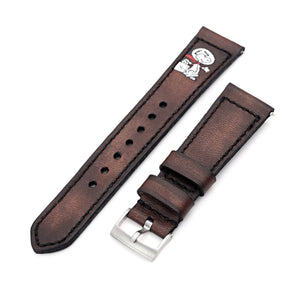 Strapcode Calf Leather Watch Strap 22mm Gunny X MT Dark Brown Handmade Quick Release Leather Watch Strap - Minimalist Snoopy